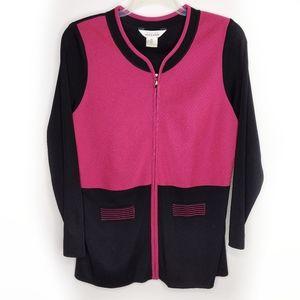 Misook Jacket XL Black Pink Full Zip Front Cardiga
